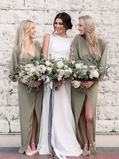 b39d5237608 Unique Long Sleeves V-Neck Green High-Low Long Bridesmaid Dresses