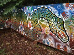 Aboriginal mural at the entrance to the bush tucker garden. Aboriginal Dreamtime, Aboriginal Painting, Aboriginal Education, Aboriginal Culture, Sensory Art, Sensory Garden, Outdoor Learning Spaces, School Murals, Murals For Kids