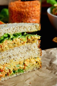 "Chickpea Salad Sandwiches (a. Vegan ""Egg"" Salad Sandwiches) Lentil + Chickpea Salad Sandwiches {a. Vegan ""Egg"" Salad Sandwiches} -Lentil + Chickpea Salad Sandwiches {a. Salat Sandwich, Chickpea Salad Sandwich, Chickpea Salad Recipes, Vegan Egg Salad Recipe, Lentil Salad Recipes, Vegan Foods, Vegan Dishes, Vegan Vegetarian, Vegetarian Recipes"