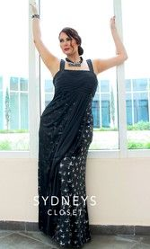 Glam Plus Size Maxi Dress in Black Glitter (SC7111)