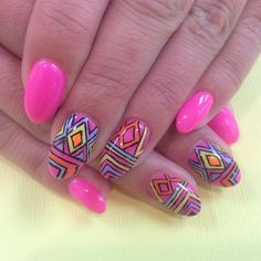 Colorful tribal nail art