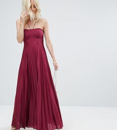 ASOS PETITE Pleated Maxi With Strappy Neck Dress - Purple