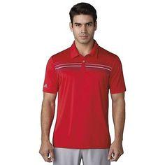 NEW Adidas ClimaCool Chest Print Polo Scarlett/Dark Slate XXL Golf Shirt