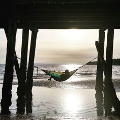 Feeling unhappy? Lie in a hammock.  #happiness #beach #canada #sand #pier #eno #hammock #camping #sunshine #summer #whiterock #hammocks #hammocklife #awesome by @leahskywalkr