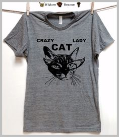 Crazy Cat Lady. Gray Unisex  T shirt. clothing.animal rescue.adopt cats.animal lovers shirt. Cateye glasses. Cat lover gift. Kitty Cats by BmoreRescue on Etsy