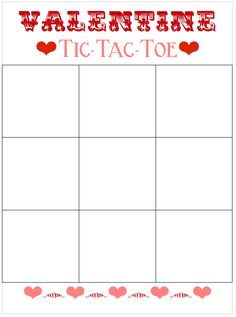 How To Make Tic Tac Toe Valentine Printable  Tic Tac Toe Free