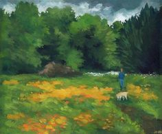 "Daily Paintworks - ""Dog Walking in the Meadow"" - Original Fine Art for Sale - © J M Needham"