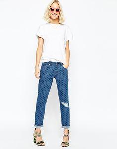 ASOS Kimmi Slim Boyfriend Jeans In Spot Print With Shredded Knee
