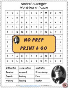 This resource is not your average word search! It has a research/written activity based on the words hidden in the word search. Your students are not merely finding words in the word search - they are also learning about NADIA BOULANGER by researching what these words had to do with his life and music. ♫ ♫ #mtr #musicteacher #musiced #musiceducation Music Teacher Resources