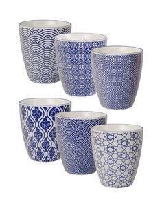 Tokyo Design Studio Nippon Blue Bekers (set van 6)