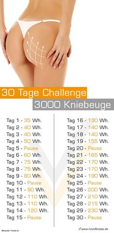 30 Tage Kniebeuge Challenge  Maximale Fettverbrennung: http://www.amazon.de/gp/product/B00HFN7MQK?*Version*=1&*entries*=0 (Fitness Routine)