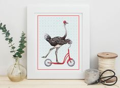 Ostrich on scooter print by Amelie Legault on Etsy. click here to buy: https://www.etsy.com/ca/listing/453748806/ostrich-on-scooter-print-5-x-7-8-x-10?ref=shop_home_active_1  #autruche #ostrich #print #affiche #drawing #etsy #amelielegault #scooter #trottinette