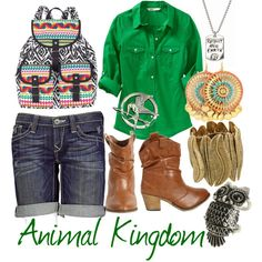 Animal Kingdom...not sure about the boots or hunger games pin! Looooove the backpack!!!!!