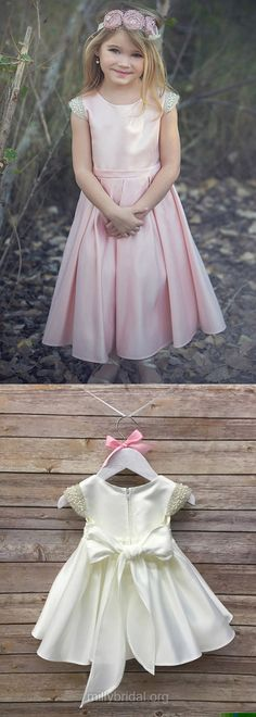 Country Flower Girl Dresses Pink, A-line Flower Girl Dresses Ankle-length, Elegant Flower Girl Dresses White