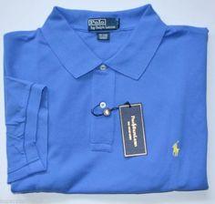 New 4XB 4XL BIG 4X POLO RALPH LAUREN Mens short sleeve shirt solid blue top