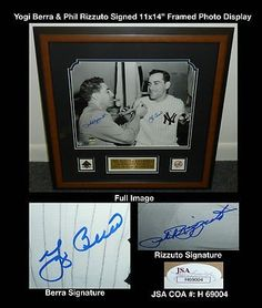 """Phil Rizzuto Yogi Berra Framed Signed 11x14 Photo Display JSA COA Yankees HOF . $250.00. Hall of Fame Catcher and ManagerYogi Berra New York Yankee Shortstop Phil Rizzuto Hand Signed 11x14"""" Black and White Photographwith Commemorative Plaque Stating""""Phil Rizutto Yogi Berra Legendary New York Yankees Hall of Fame Teammates""""Professionally Matted and Framed in a 21x21"""" (appx) Brown FrameReady for Display!Yogi Berra Played For:New York Yankees 1946-1963New York Mets 1965Berra w..."""