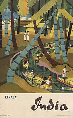 Kerala in India classic vintage travel destination poster
