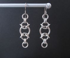 Chainmaille Jewelry Stainless Steel Earrings by BlackCatLinks, $10.00
