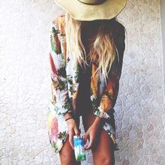 Tropical prints -  long blonde hair. hats. hippie chic. beach. jacket vintage.