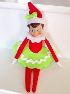 Express Your ELF Handmade Elf on the Shelf Clothing: Ric Rac Skirt, Scarf All Things Christmas, Christmas Holidays, Christmas Crafts, Christmas Activities, Christmas Traditions, Elf Clothes, Elf On The Self, Girl Elf, Naughty Elf