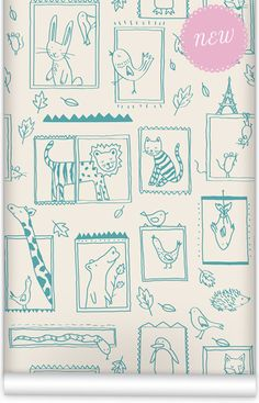 mm0225w - Frames baby room wallpaper Wallpaper. Muffin & Mani's bedroom decorating Whimsical Wonderland Collection. Washable PVC Free wallpaper non woven