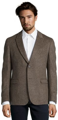 $755, Brown Wool Blazer: Z Zegna Z Zenga Ash Brown Birdseye Wool Drop 8 Deco 2 Button Blazer. Sold by Bluefly. Click for more info: https://lookastic.com/men/shop_items/159415/redirect