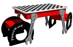 Wrench Table with Stools Woodworking Plan #woodworkingplans