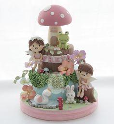Fairy Birthday Cake, First Birthday Cakes, Birthday Cake Girls, My Dream Cake, Love Cake, Cupcakes Fondant, Cupcake Cakes, Baby Girl Cakes, Cake Topper Tutorial
