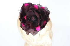 Silk purple black and pink flower hair accessory by TaraMDesigns Tara M, Flower Hair Accessories, Hair Accessory, Purple And Black, Fascinator, Pink Flowers, Etsy Store, Silk, Trending Outfits