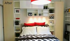 See IKEA's storage-maximizing makeover of a studio apartment in the Bronx - Modern Ikea Small Apartment, Apartment Bedroom Decor, Ikea Bedroom, Apartment Design, Apartment Living, Apartment Ideas, Bedroom Ideas, Apt Ideas, Décor Ideas