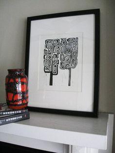 "MOD TREES 4 - Linocut Print -  Black & White Mid Century Modern Print - Minimalist Print 8""x10"" - Ready to Ship"