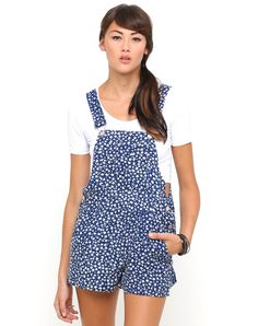 99b919edd47 Motel Demi Dungarees in Navy and White Ditsy Daisy