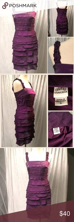 Violet satin ruffled layer sleeveless sheath dress Sleek beneath a blazer and eye-catching by itself with its sheen and flattering fit. Fits a true size 6 as modeled on dress form. In excellent condition. Sangria (sold at MACYS) Dresses Midi