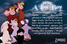 What Peter Pan character are you?       This is what the last pinned got but I got Peter pan