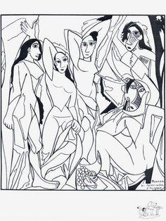 Les Demoiselles d'Avignon, Pablo Picasso: Coloring Page Pablo Picasso, Kunst Picasso, Art Picasso, Colouring Pages, Adult Coloring Pages, Coloring Books, Art Espagnole, Creation Art, Spanish Art
