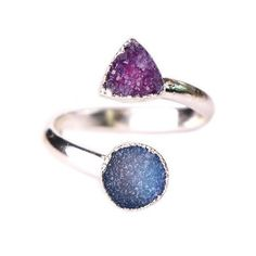 Magnolia Druzy Ring (140 AED) ❤ liked on Polyvore featuring jewelry, rings, adjustable rings, blue ring, pink druzy ring, druzy jewelry and drusy jewelry