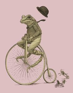 Frog on Bike Print 8x10 Old Time Bicycle Art by ScatterbrainPrints