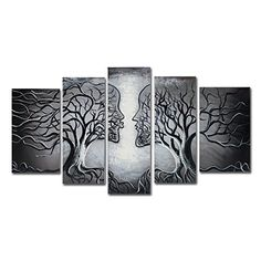 VASTING ART 5Panel 100 HandPainted Oil Paintings Human Faces Kissing Trees Modern Abstract Contemporary Artwork Canvas Stretched Wood Framed Ready To Hang Home Decoration Wall Decor Gray Black *** Read more reviews of the product by visiting the link on the image.