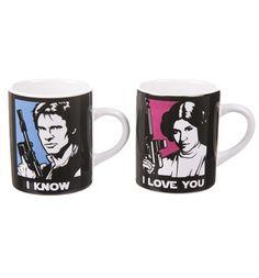 Boxed Han Solo And Princess Leia Set Of 2 Mini #Mugs : TruffleShuffle.com #StarWars