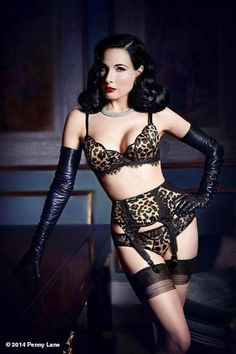VonFollies by DitaVonTeese leopard 'tulip' collection arriving at Faire Frou Frou (March 2014)