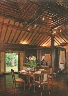 Inside Joglo house, traditional javanese house.