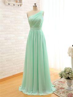 2015 dama de honor vestidos elegante Women 's Party vestido de gasa Mint A Line de un hombro vestido de dama dama de honor vestidos de menos de $50 en Vestidos de Damas de Honor de Bodas y Eventos en AliExpress.com | Alibaba Group