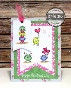 Wow, it's time for me to share my first Valentine's Day card! I can't believe it! And I'm doing that with DeNami Design today. The 2 stamp sets at work here are Monster Love and Happy Valentine's Day. I stamped the images withMemento Tuxedo Black Ink onto X-Press IT Blending Card Paper, and colored them …