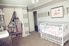 Sweet baby room. Adore everything about it, the stripes, the chevron blanket, the curtains for the closet...