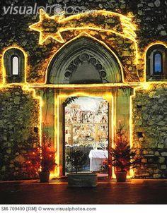 Taormina, church with Christmas lights, Sicily,  Italy.