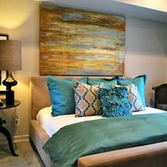 teal and tan bedroom