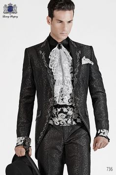 ITALIAN BLACK BAROQUE WEDDING SUIT Model  736   OTTAVIO NUCCIO GALA   Italian bespoke black brocade short frock coat with silver floral embroidery and peak lapel. Silver embroidery on the front, rear, lapel, collar and pocket flaps, style 736 Ottavio Nuccio Gala, 2015 Baroque collection.
