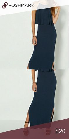Popover maxi This is a popover maxi dress navy blue in color is 95% rayon 5% spandex comes with two splits on each side Top calf level get ready for the great weather ahead ladies bundle two items and receive a discount Dresses