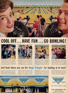 Vitnage Amf Original Classic Bowling Lanes Ad T (1959)
