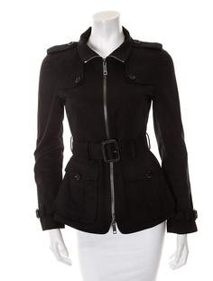 Black belted Burberry jacket